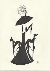 Image detail for -Original Art Deco Painting Picture Lady Figure Woman Greyhound Whippet ...