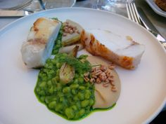 Monkfish cooked over pine, puffed barley, fennel @ Restaurant Chiltern Firehouse