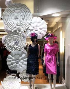 Jaques Vert Window scheme constructed from paper flowers in various sizes, styles and textures.