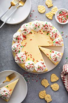 Sugar Cookie Cheesecake is baked up with a sugar cookie crust and uses a secret ingredient in the cheesecake filling.