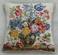 Colonial Botanist Robert Furber's prints grace these needlepoint pillows. Nothing says colonial decor, like a Furber floral needlepoint pillow Filet Crochet, Irish Crochet, Blue Tulips, Cross Stitch Pillow, Needlepoint Pillows, White Crosses, Decorative Pillows, Cushions, Blue And White