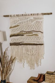 DimensionsDriftwood is 52 inches in lengthMacrame/Weaving is 38 inches wide and 53 inches in length Colors: Dark Taupe, Light Taupe, Tan, Cream and Natural You will receive the exact pieces picturedWant something similar but with more color? Message me!🌵🌵 🌵🌵 🌵🌵🌵🌵As seen on Green Wedding Shoes, Paper & Lace, Inspire Driftwood Macrame, Macrame Art, Macrame Design, Weaving Wall Hanging, Large Macrame Wall Hanging, Macrame Plant Hangers, Wall Hangings, Weaving Projects, Macrame Projects