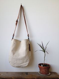 Canvas and Leather Tote- cross body tote bag