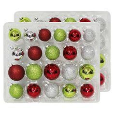 42-Piece Boxed Ornament Set - Red/Green