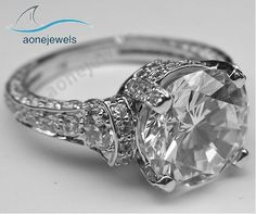 Unique 4 Prong Setting Round Cut Diamond For Women's Engagement Ring Sz 5-11 #aonejewels #SolitairewithAccents