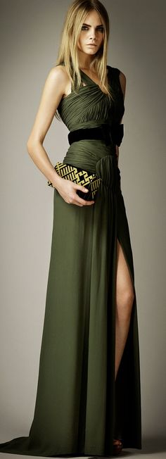 Burberry Silk draped dress... Ditch the belt. Love the fabric & color