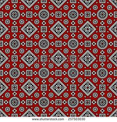 Red Sindhi Ajrak Pattern, Vector Illustration