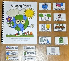 "Free!  Earth Day Free Adapted Song Book, ""A Happy Planet,"" teaches Earth day themed vocabulary and concepts."