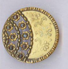 Lg Victorian Incised Ivoroid Button in Crescent Moon Shape w/Openwork CUT STEELS