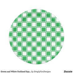 Green and White Outlined Squares Paper Plate