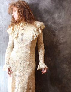 Vintage 1960s Hippie Bohemian Quaker Lace Maxi Dress by MajikHorse, $150.00