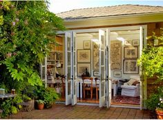 multiple sets of french doors opening out onto patio. could this be done on our dining room remodel? Patio Design, House Design, Brick Design, Wall Design, Garden Design, Magazine Deco, Backyard Cottage, Backyard Studio, Garden Cottage