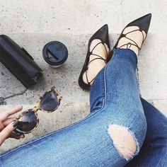 Sexy & chic   #flatshoes #black #trend