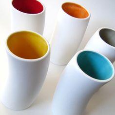 Vases with a splash of color inside