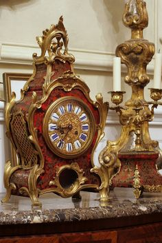 beautiful French clock and candlestick