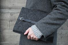 "MacBook Air 11"" Sleeve / Smokey Grey Felt & Black Suede Leather. $69.00, via Etsy."