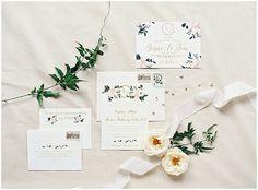 Gold, blush + greenery • Hand-painted floral invitation suite | High Hampton Inn Cashiers, North Carolina | #northcarolinabride