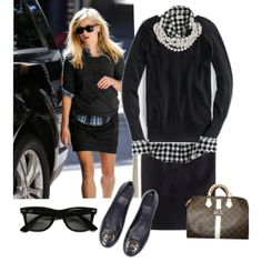 black pencil skirt outfit inspiration plaid or checked shirt, black sweater, black flats
