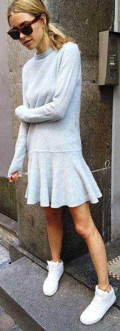 Adore the cut of this dress. Look De Pernille Light Blue Wool Little Dress