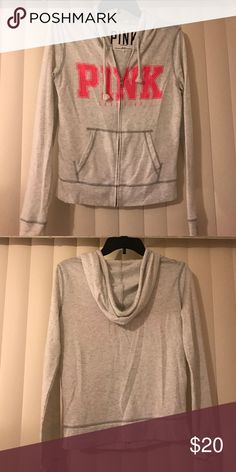 VS PINK JACKET Grey and pink Victoria's Secret PINK jacket. It's light so could be worn for spring time! Don't remember the original price so I estimated based on other VS Pink jackets. PRICE NEGOTIABLE!!⭐️ PINK Victoria's Secret Jackets & Coats