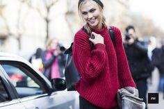 Karlie Kloss in a Sportmax sweater in Milan #mfw