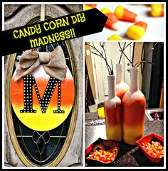 DIY Candy Corn Monogram Wreath and DIY Candy Corn Wine Bottle Centerpiece!