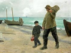 """Father & Son In Skagen""  by Michael Peter Ancher (1849 – 1927, Danish)"
