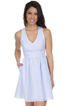 Lt. Blue Seersucker - The Augusta Seersucker Dress Front