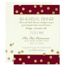 Gold Confetti Dots Burgundy Rehearsal Dinner Card - burgundy style stylish cyo diy customize