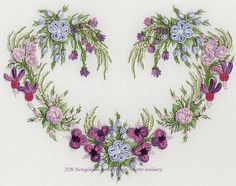 ♒ Enchanting Embroidery ♒ embroidered heart in flowers