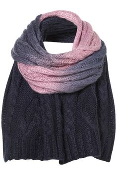 Cable Dip Dye Scarf