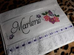 Towel, Cross Stitch, Card Holder, Sewing, Cards, Hand Towels, Embroidered Towels, Baby Washcloth, Cross Stitch Pictures