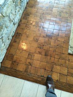 End grain wood tile floor, has a nice sense of depth to it. End grain wood tile floor, has a nice sense of depth to it. End Grain Flooring, Kitchen Flooring, Wood Tile Floors, Wooden Flooring, Diy Flooring, Wood Floor, Floor Design, House Design, Barn Wood Crafts