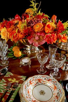 Holiday table with Christie's including flowers by Zeze