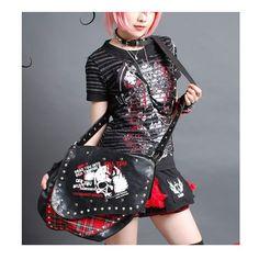 Black Studded Skull Red Plaid Cyber Punk Rock Cross Body Messenger Bag SKU-11408002