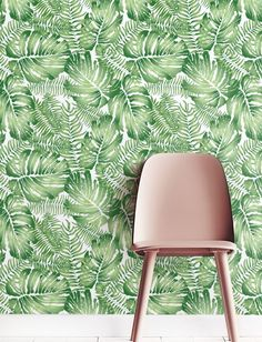 Watercolor Monstera leaves Wallpaper Removable by Jumanjii on Etsy