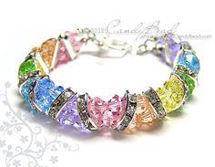 Swarovski Bracelet Sweet Rainbow Crystal Cuff by candybead on Etsy, $20.00