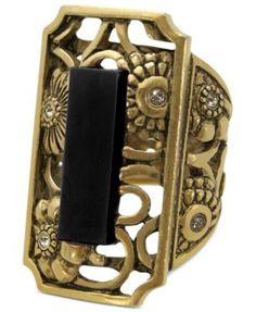 T Tahari Ring, Gold-Tone Glass Black Stone Stretch Ring