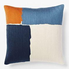 color inspiration from a West Elm pillow Steven Alan Abstract Crewel Pillow Cover - Midnight Modern Throw Pillows, Gold Pillows, Diy Pillows, Cheap Decorative Pillows, Decorative Pillow Covers, West Elm Bedding, Diy Room Decor For Teens, Floral Vintage, Living Room Decor Pillows