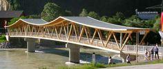 Eroeffnung Notburgabrücke Bridges Architecture, Wood Architecture, Arch Bridge, Pedestrian Bridge, Bridge Builder, Small Bridge, Bridge Construction, Art Village, Bridge Design
