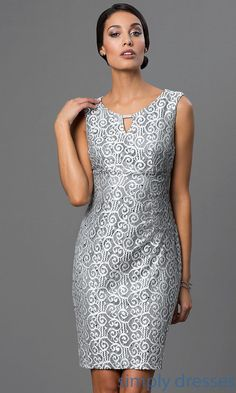 Knee Length Silver Lace Dress with Sequin Accents - Brought to you by Avarsha.com