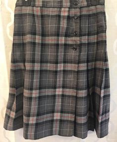 Pendleton Gray Red Plaid 100% Pure Virgin Wool Womens Pleated Skirt Size 6 #Pendleton #Pleated