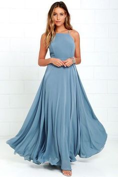 The Mythical Kind of Love Slate Blue Maxi Dress is simply irresistible in every single way! A billowing maxi dress with apron neckline, crisscrossing straps and an open back. Azul Niagara, Pretty Dresses, Beautiful Dresses, Dress Skirt, Dress Up, Lace Dress, Mode Chic, Blue Maxi, Green Maxi