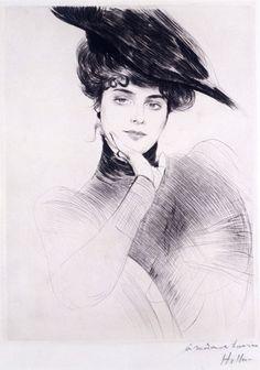 Portrait of a woman wearing a hat, by Paul-César Helleu - (1859-1927). Engraving. France, 1885-90.