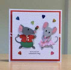 Valentine's Card, Handmade - Marianne mouse die. For more of my cards please visit CraftyCardStudio on Etsy.com.
