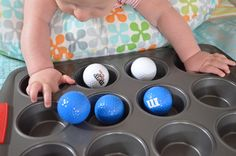 Muffin Tin Fine Motor Play and lots of other easy play ideas for baby - Modern Sensory Activities For 6 Month Old, Infant Activities, Baby Sensory Play, Baby Play, Sensory Wall, Sensory Boards, Reggio Emilia, Baby Helmet, Baby Life Hacks