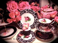The very beautiful 'Senorita' by Royal Albert! Vintage black lace and pink roses on fine bone china! Available to hire from Rabbit and Rose. Coffee Time, Tea Time, Coffee Cup, Vintage Tableware, Single Rose, China Tea Cups, China Patterns, Royal Albert, Vintage Tea