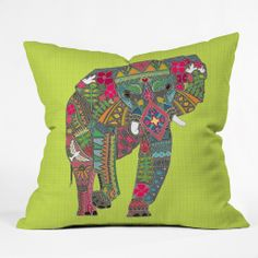 Sharon Turner Painted Elephant Chartreuse Throw Pillow | DENY Designs Home Accessories