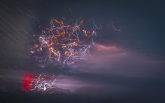 Lightning during a volcanic eruption