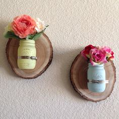 Rustic wood slice mason jar wall vase by Mommyof5as on Etsy, $35.00